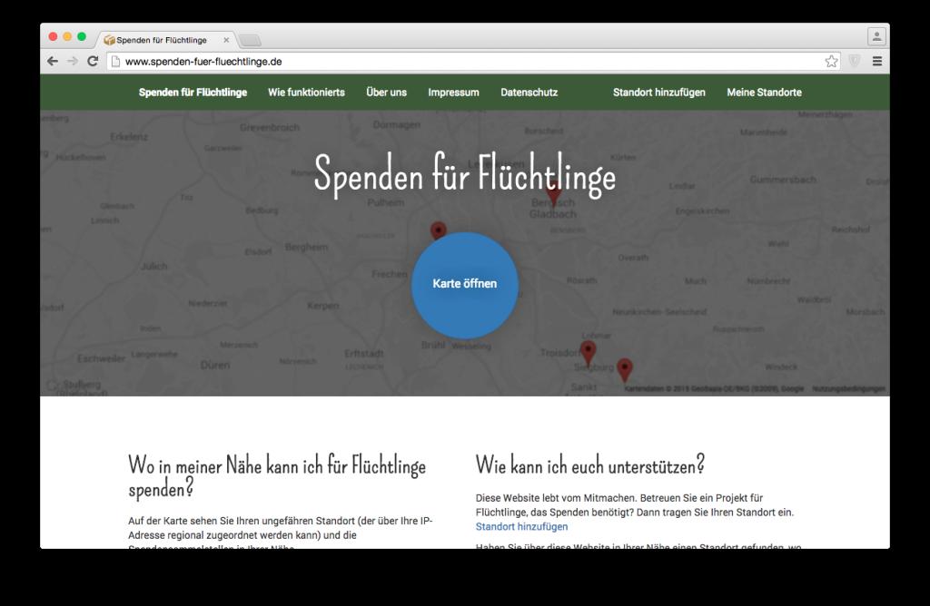 Spenden für Flüchtlinge Website