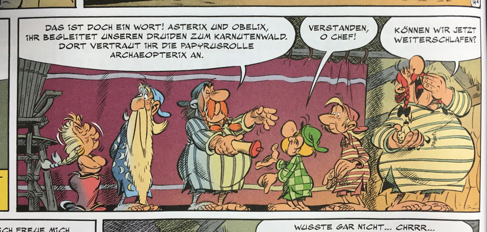 Asterix und das Papyrus des Cäsar. Szene aus dem gallischen Dorf